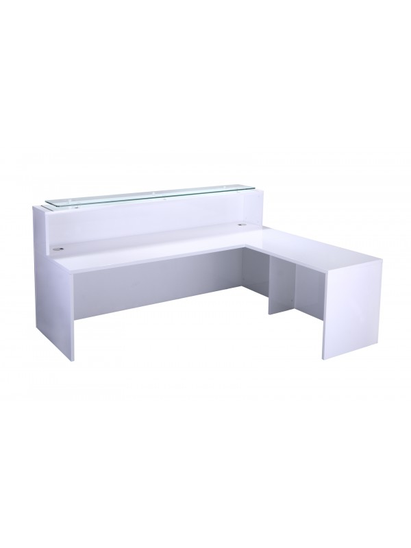 White Gloss Reception Counter - with return