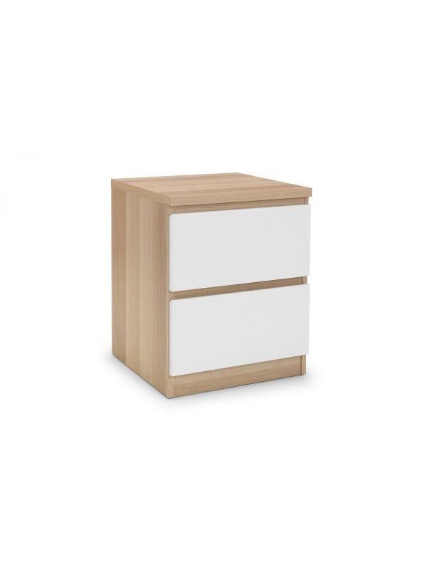 julian bowen Jupiter 2 Drawer Bedside - White/Oak