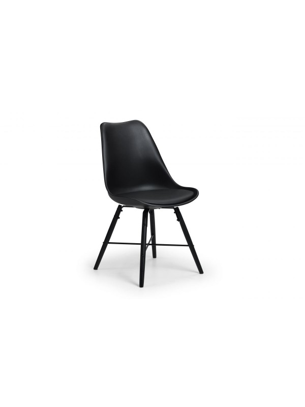 julian bowen Kari Dining Chair Black, Grey, White Poly chair wood legs & faux leather seat pad