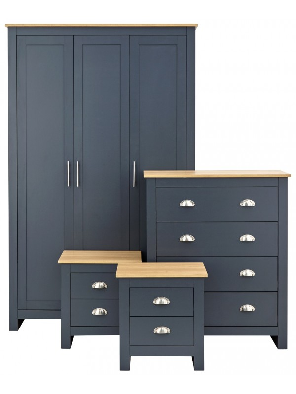 GFW Lancaster 4 Piece Bedroom Bundle Mega Deal Wardrobe, Drawers & 2 bedsides in Slate Blue