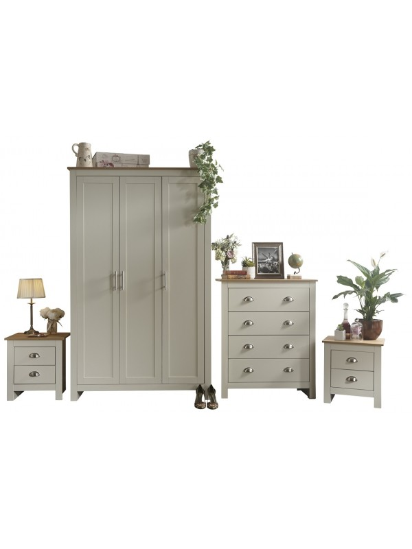 GFW Lancaster 4 Piece Bedroom Bundle Mega Deal Wardrobe, Drawers & 2 bedsides in Ivory Cream