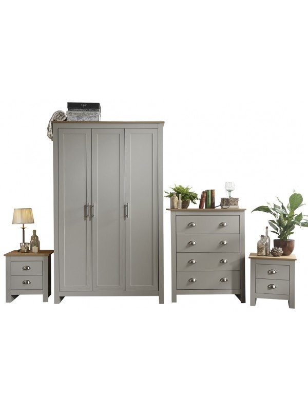 GFW Lancaster 4 Piece Bedroom Bundle Mega Deal Wardrobe, Drawers & 2 bedsides in Light Grey