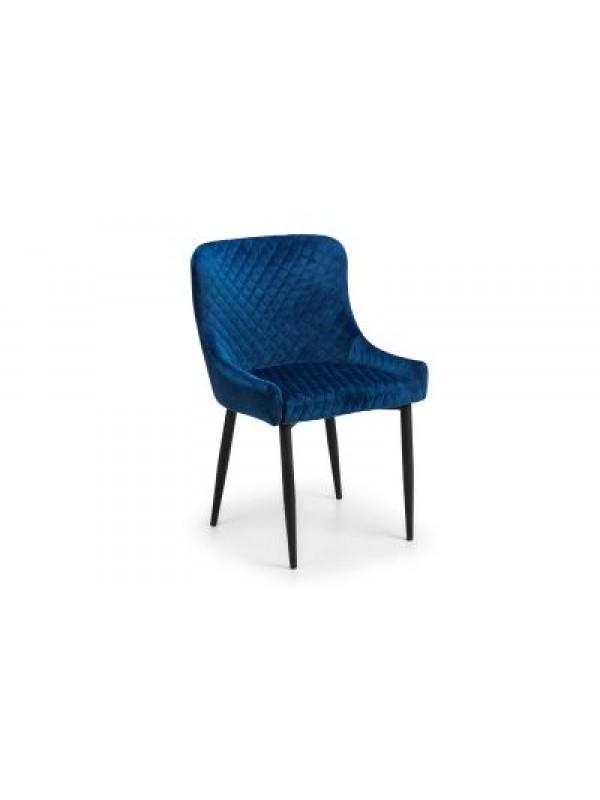 julian bowen Luxe Velvet Dining Chair Blue or Grey