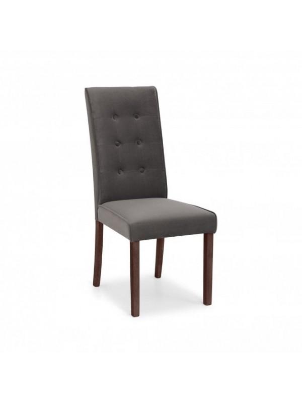 Julian Bowen Madrid Grey Velvet & Walnut Dining chair