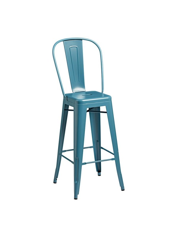 Zap Marcel Metal Bar Stool with Back Rest indoor or outdoor use Black, Grey, Blue, Yellow