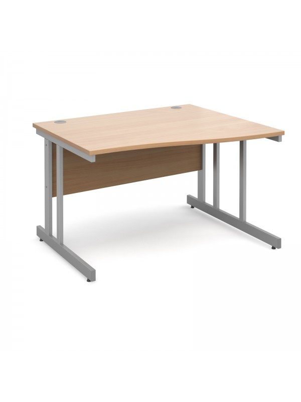 Momento right hand wave desk - silver cantilever frame