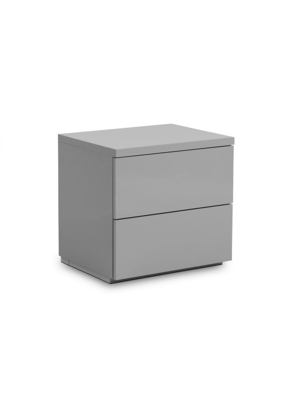 Julian Bowen Monaco 2 Drawer Bedside - Grey High Gloss