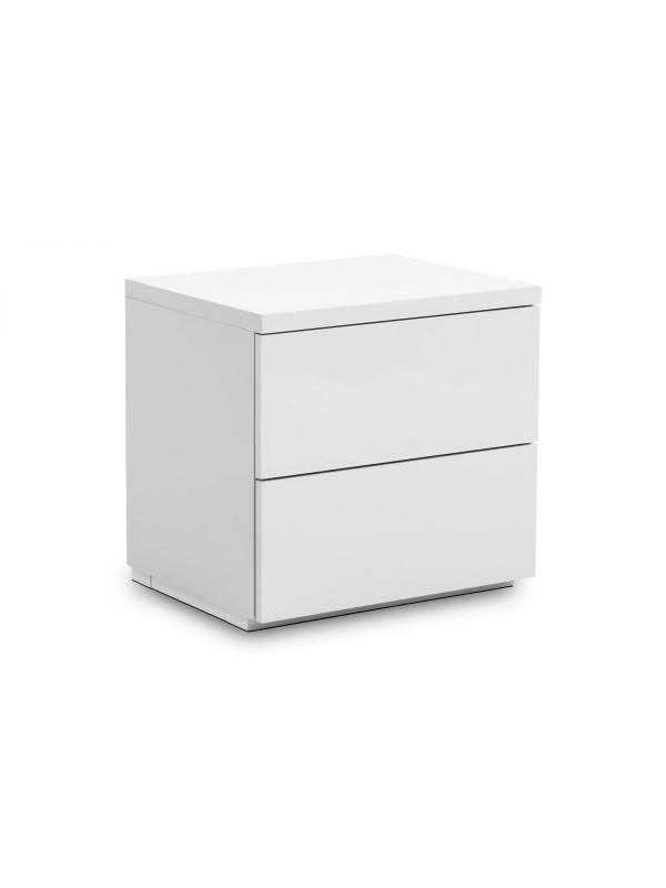 Julian Bowen Monaco 2 Drawer Bedside - White High Gloss