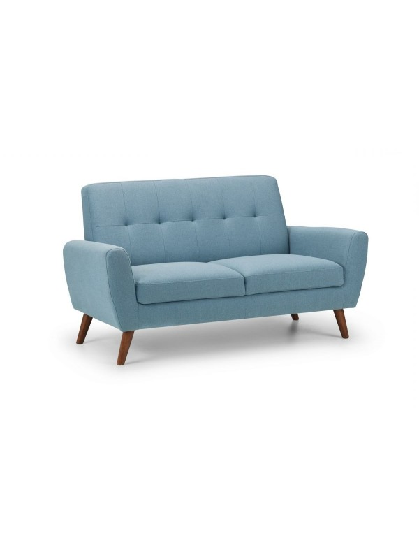 julian bowen Monza Retro 2 Seat Sofa Blue Linen Fabric