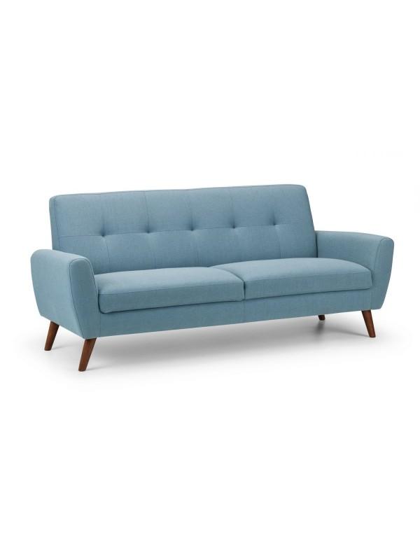 julian bowen Monza Retro 3 Seat Sofa Blue Linen Fabric