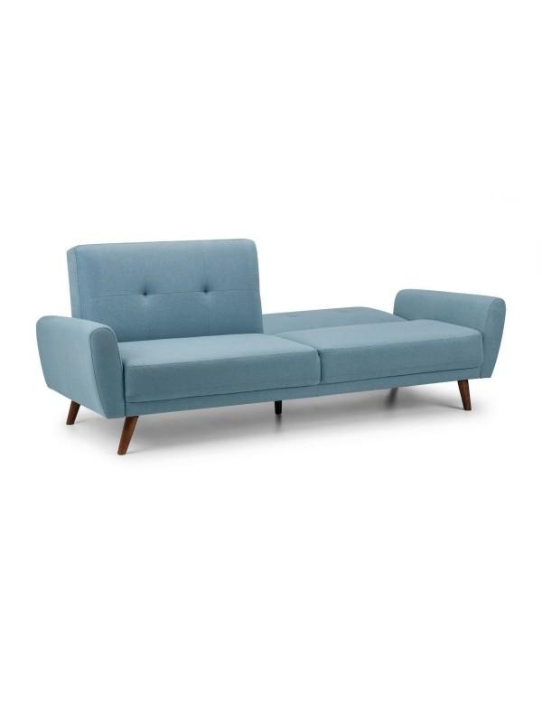 julian bowen Monza Retro 3/4 Seat Sofa Bed Blue Linen Fabric