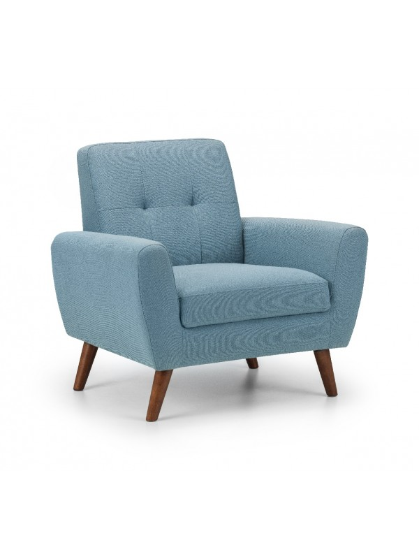 julian bowen Monza Retro Armchair Blue Linen Fabric