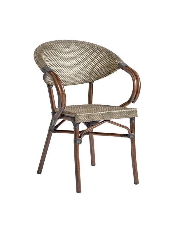 Zap Panda French Bistro Style Aluminium Weave Arm Chair - 5 colours
