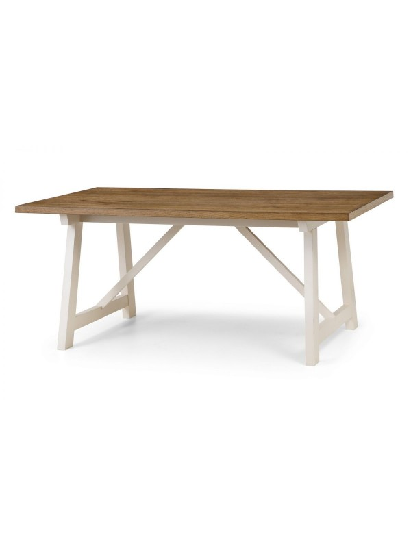 julian bowen pembroke dining table ivory and welsh oak veneer
