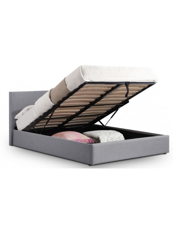 Julian Bowen fabic Rialto Lift-Up Storage Bed light grey linen