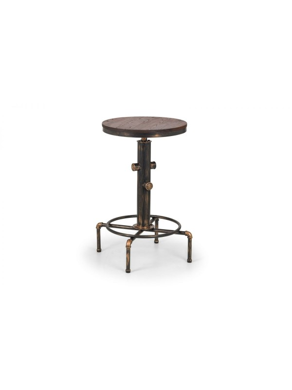 julian bowen Rockport Pipework Bar Table rustic elm