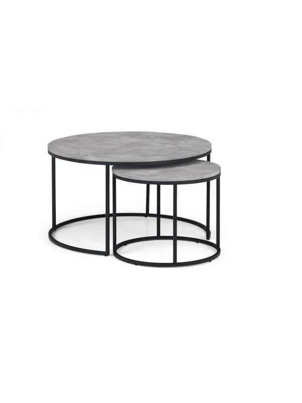 julian bowen Staten Round Nesting Coffee Table Concrete Effect