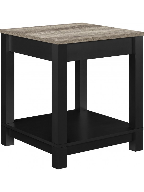 Dorel Carver End table in black/weathered oak or grey/weathered oak