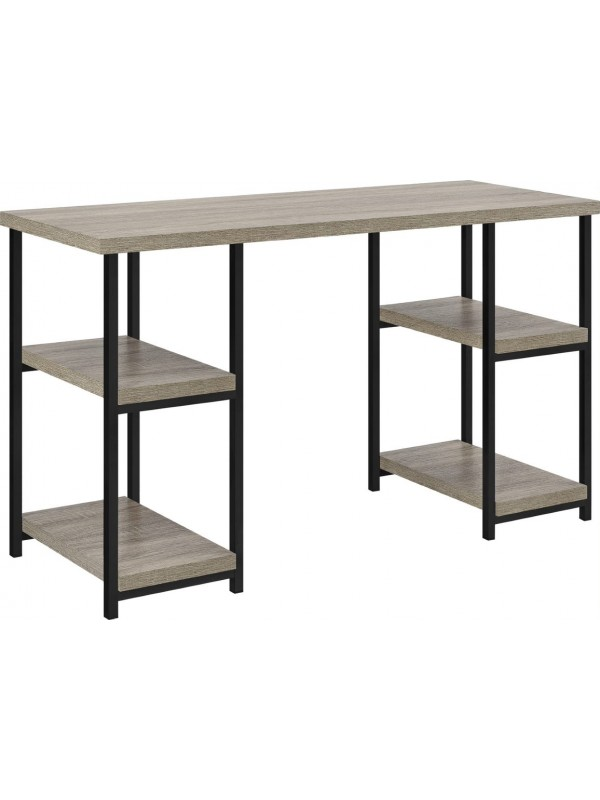 Dorel Elmwood Double pedestal desk in distressed gray oak