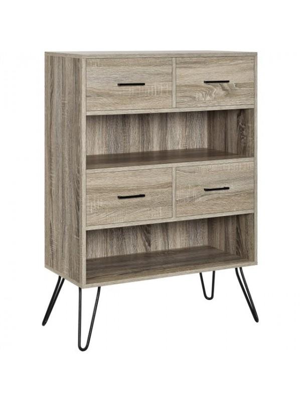 Dorel Landon Bookcase in distressed grey oak