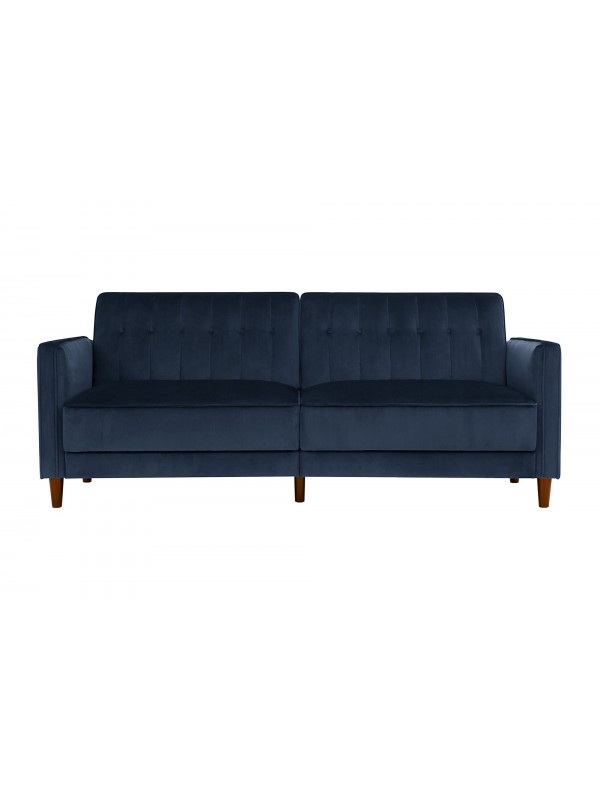 Dorel Pin Tufted Transitional Sofa Bed in Blue Velvet