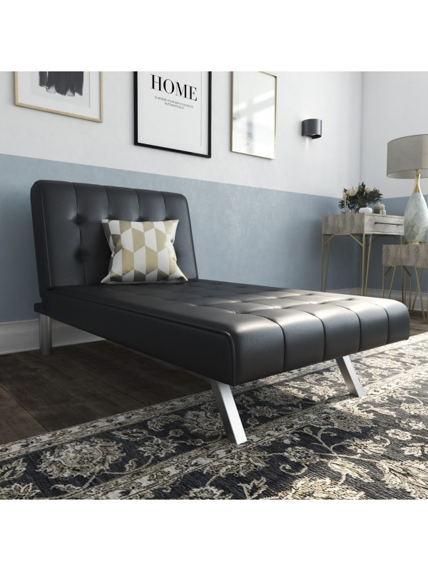Dorel Emily Chaise In Black PU Faux Leather