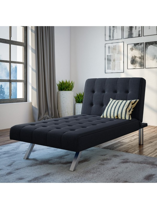 Dorel Emily Chaise In Navy Blue Linen Fabric