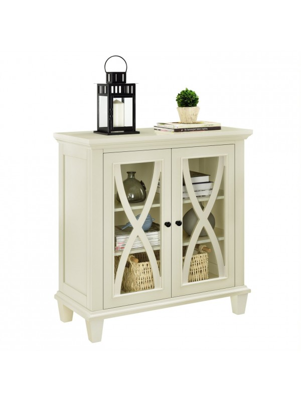 Dorel Ellington 2 Door Storage Cupboard Black Blue Grey or Ivory Wood