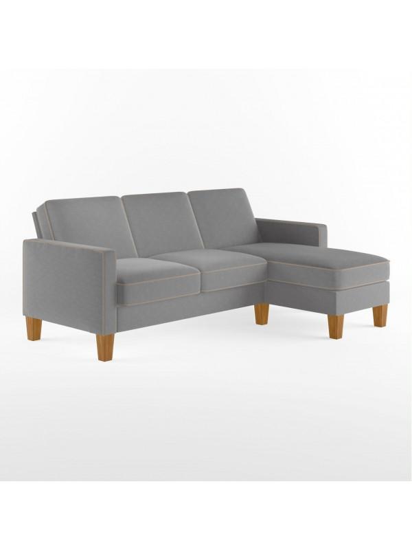 Dorel Bowen L Shaped Sofa in Grey Chenille