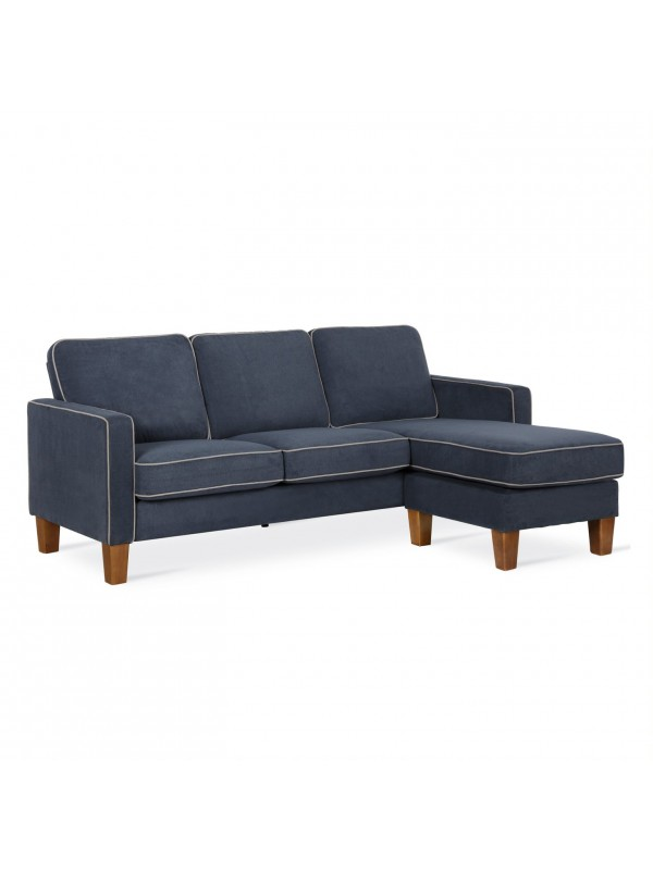 Dorel Bowen L Shaped Sofa in Blue Chenille