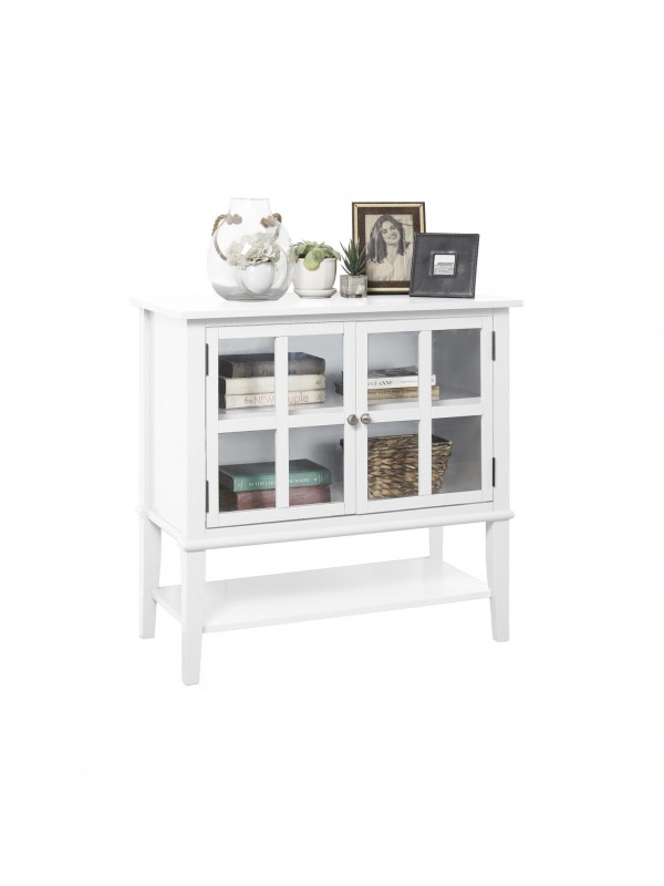 Dorel Franklin 2 Door Storage Cabinet Grey Black or White Wood with Glazed Doors