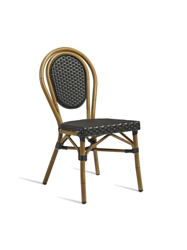 zap time side chair aluminium cane effect with wicker weave