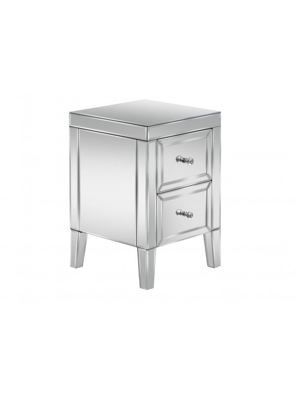 BIRLEA Valencia Mirrored 2 Drawer Bedside