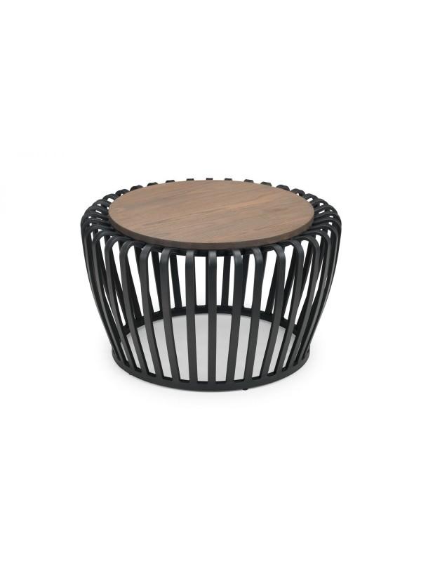 Julian Bowen Washington Round Industrial Style Coffee Table - Black/Mocha Elm
