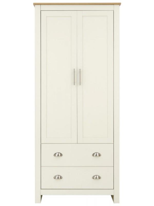 GFW Lancaster 2 Door 2 Drawer Wardrobe Ivory Cream