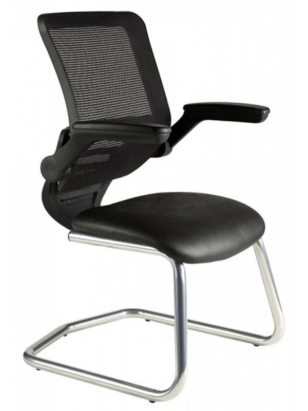 Alliance Chrome Mesh Back Cantilever Chair with Fold Back Arms