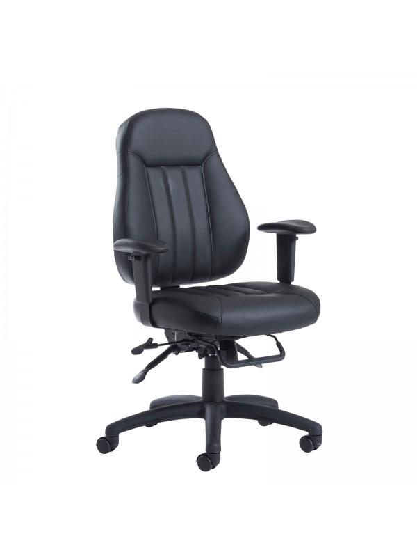 Zeus medium back 24hr task chair - black faux leather